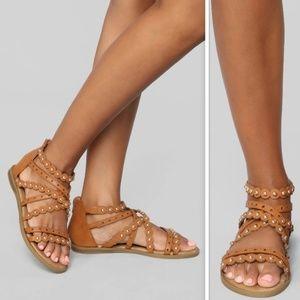 Tan Metal Rivet Strappy Gladiator Sandal